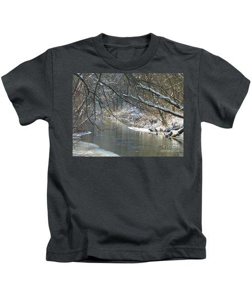 Winter On The Stream Kids T-Shirt