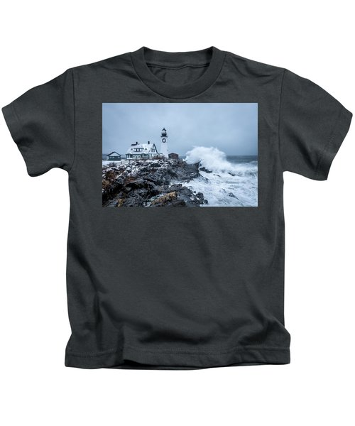 Winter Storm, Portland Headlight Kids T-Shirt
