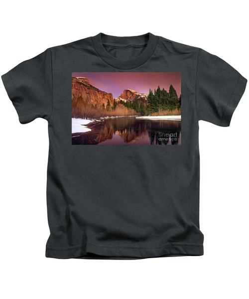 Winter Sunset Lights Up Half Dome Yosemite National Park Kids T-Shirt