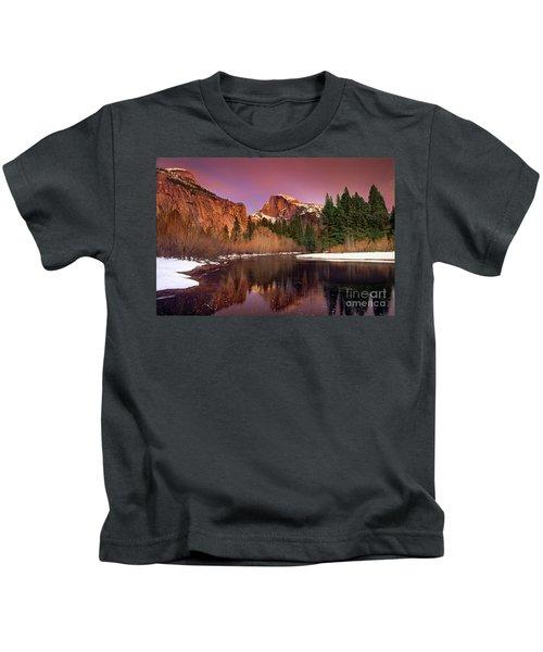 Winter Sunset Lights Up Half Dome Yosemite National Park Kids T-Shirt