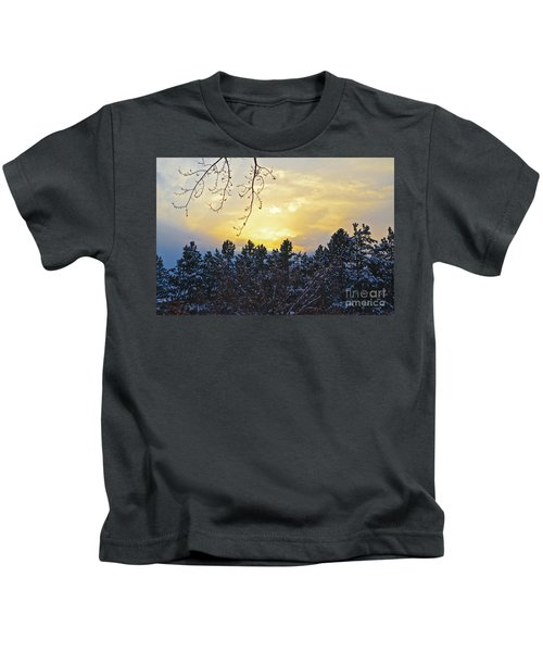 Winter Sunset On The Tree Farm #1 Kids T-Shirt