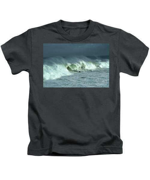 Winter Surf On Monterey Bay Kids T-Shirt