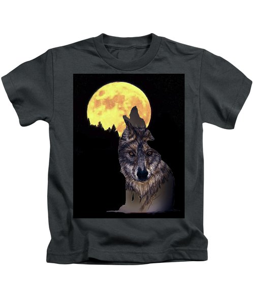 Wolf Howling At The Moon Kids T-Shirt