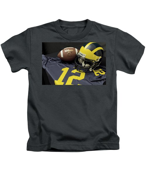 Wolverine Helmet With Football And Jersey Kids T-Shirt