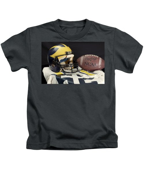 Wolverine Helmet With Jersey And Football Kids T-Shirt