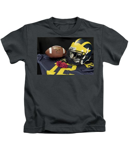 Wolverine Helmet With Roses, Jersey, And Football Kids T-Shirt