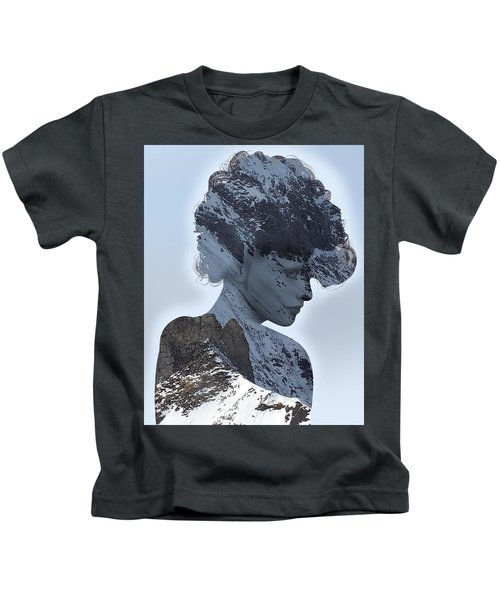 Woman And A Snowy Mountain Kids T-Shirt