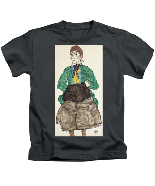 Woman In Green Blouse With Muff Kids T-Shirt