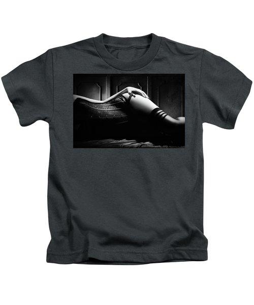 Woman With Black Corset Kids T-Shirt