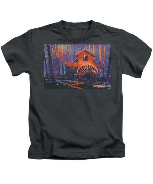 Kids T-Shirt featuring the painting Wooden House by Tithi Luadthong