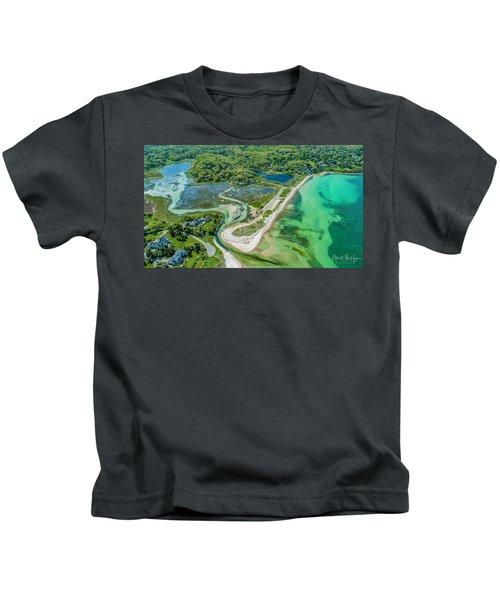 Woodneck Beach At 400 Feet Kids T-Shirt