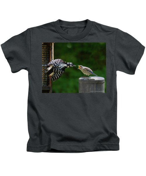 Woodpecker Feeding Bluebird Kids T-Shirt