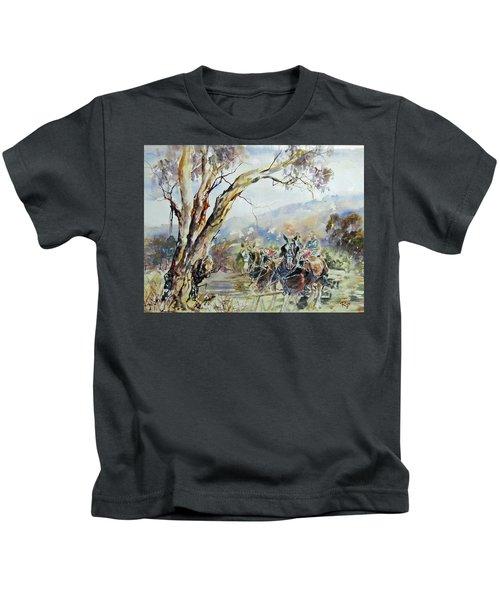 Working Clydesdale Pair, Australian Landscape. Kids T-Shirt