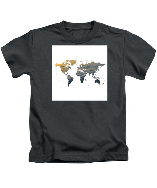 World Map - Ocean Texture Kids T-Shirt