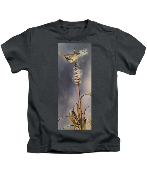 Wren And Cattails Kids T-Shirt