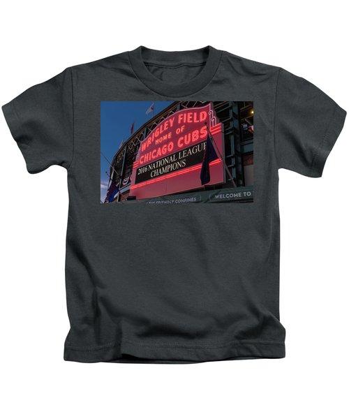 Wrigley Field Marquee Cubs National League Champs 2016 Kids T-Shirt by Steve Gadomski