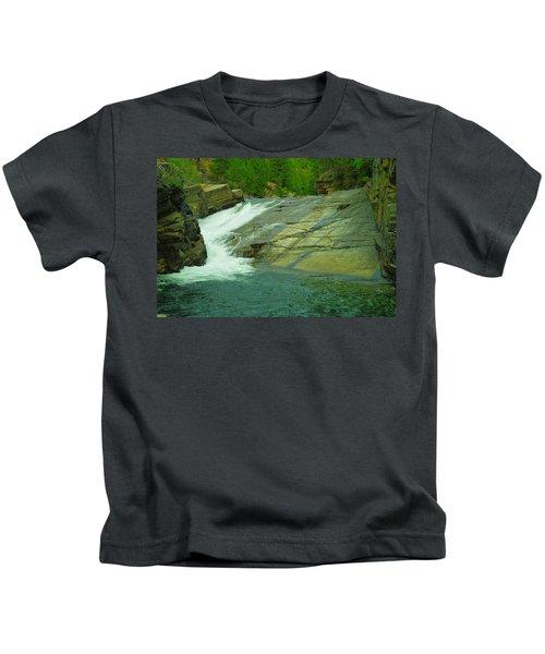 Yak Falls   Kids T-Shirt by Jeff Swan