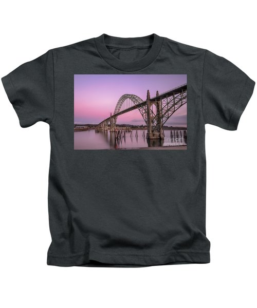 Yaquina Bay Bridge In Blue Light Kids T-Shirt