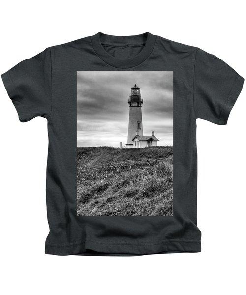 Yaquina Head Lighthouse - Monochrome Kids T-Shirt