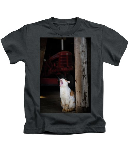 Yawning Barn Cat And Tractor Kids T-Shirt