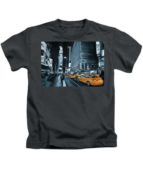 Yellow Broadway At Night - Nyc Kids T-Shirt