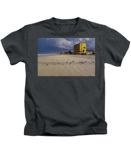 Yellow Hotel Blue Sky And Birds On Daytona Beach Florida Kids T-Shirt