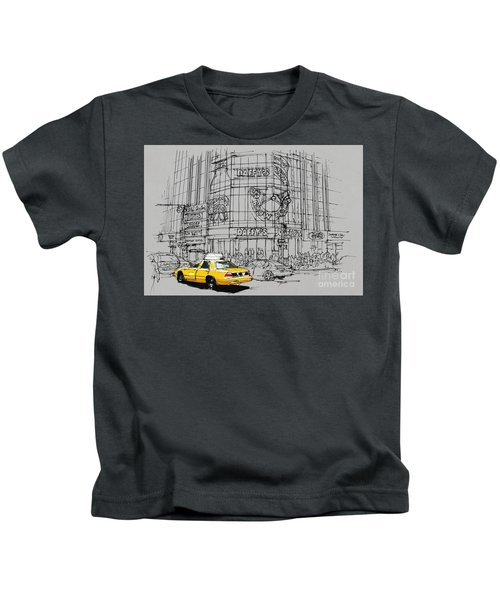 Yelow Cab On New York Streets Kids T-Shirt