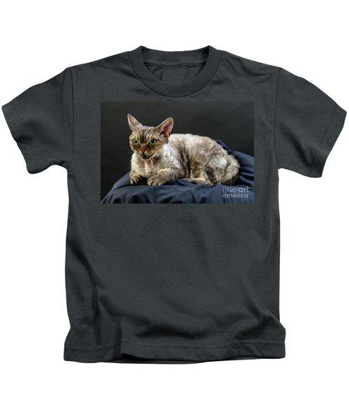 Yogi - Grumpy Cat - Pure-bred Devon Rex  Kids T-Shirt