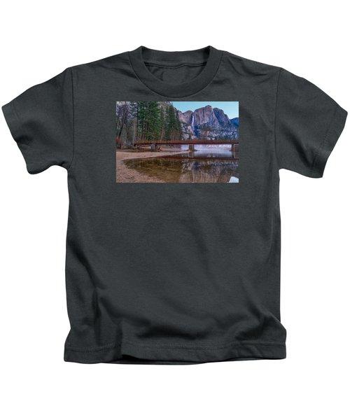 Yosemite Falls At The Swinging Bridge Kids T-Shirt