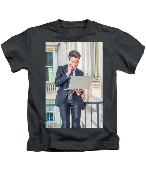 Young School Boy Working Remotely 15042510 Kids T-Shirt