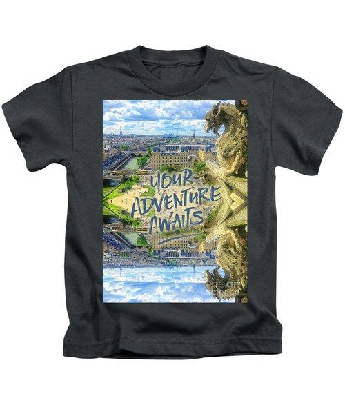 Your Adventure Awaits Notre-dame Cathedral Gargoyle Paris Kids T-Shirt