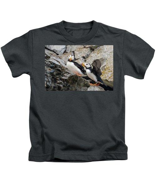 Horned Puffin Pair 2 Kids T-Shirt