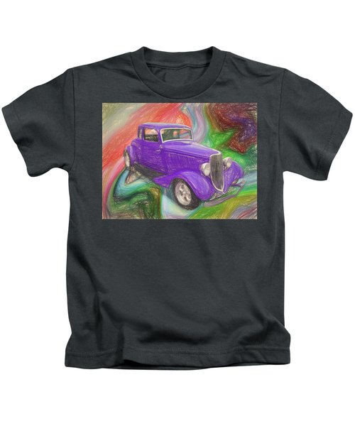 1934 Ford Colored Pencil Kids T-Shirt