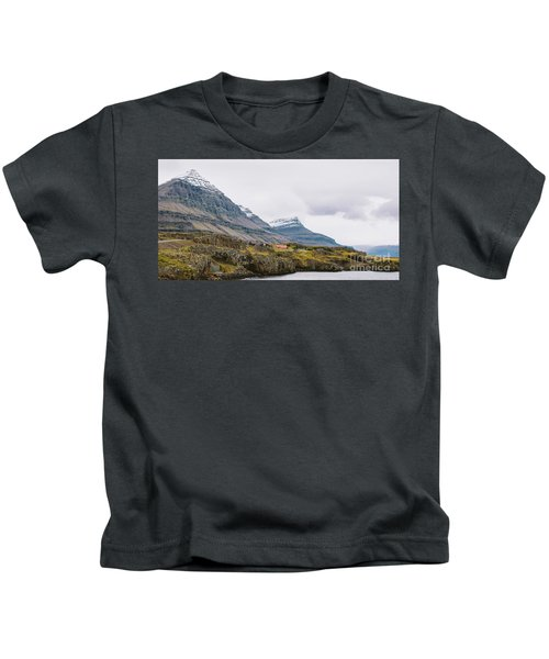 High Icelandic Or Scottish Mountain Landscape With High Peaks And Dramatic Colors Kids T-Shirt