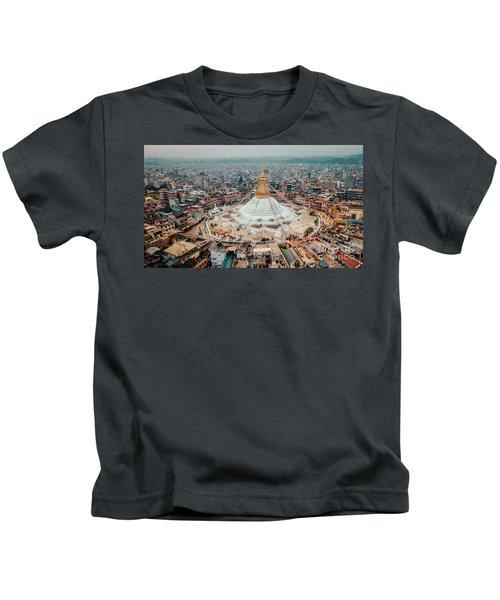 Stupa Temple Bodhnath Kathmandu, Nepal From Air October 12 2018 Kids T-Shirt