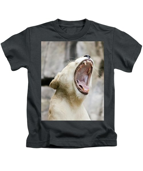A Portrait Of A White Southern African Lion Female Roaring Kids T-Shirt
