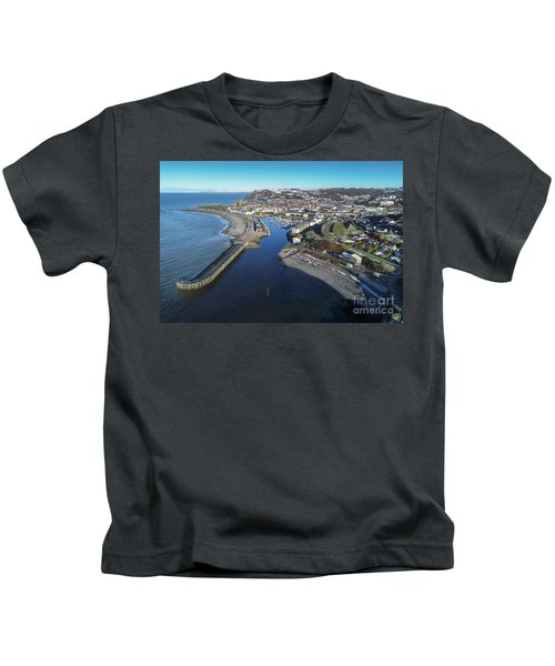 Aberystwyth Harbour From The Air In Winter Kids T-Shirt
