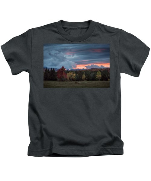Adirondack Loj Road Sunset Kids T-Shirt