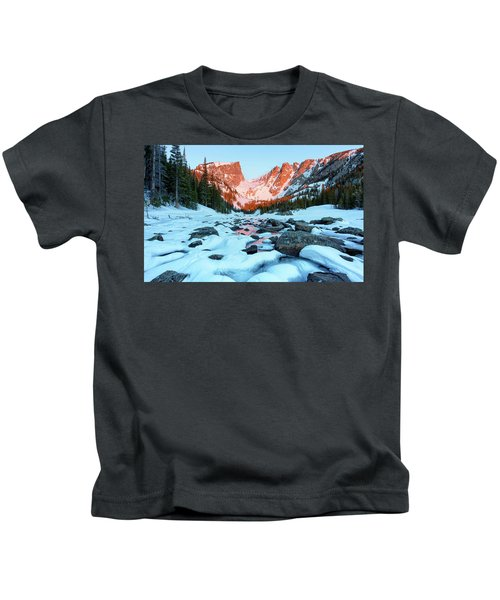 Alpenglow At Dream Lake Rocky Mountain National Park Kids T-Shirt