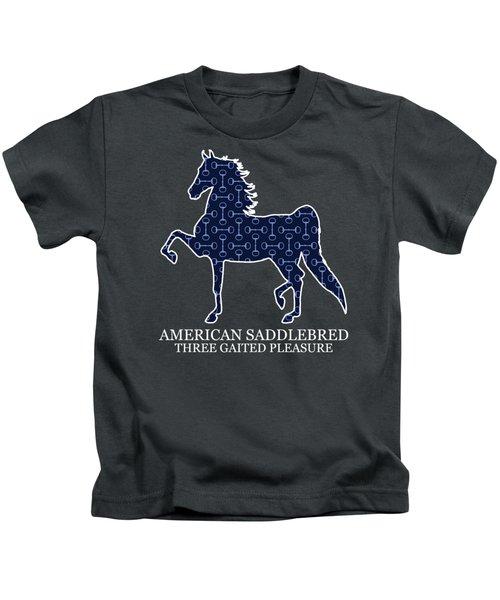 American Saddlebred Three Gaited Pleasure - Blue Bits Kids T-Shirt