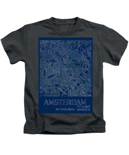 Amsterdam Blueprint City Map Kids T-Shirt