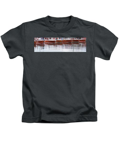 Antique Classic Wooden Boats In A Row Panorama 81112p Kids T-Shirt