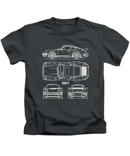 Porsche 911 Turbo Blueprint - Gray Kids T-Shirt