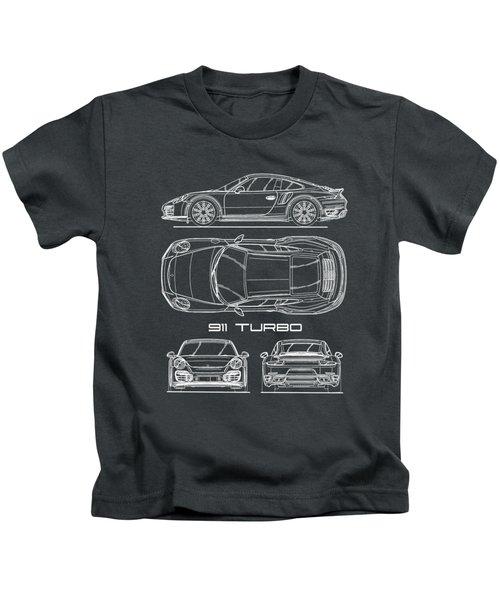 911 Turbo 991 Blueprint Kids T-Shirt