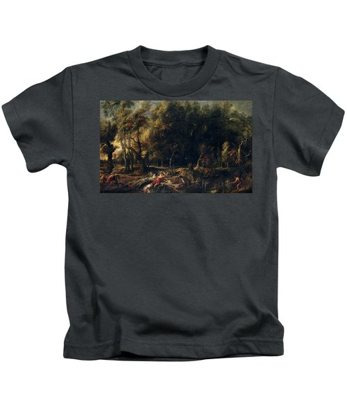 'atalanta And Meleager Hunting The Wild Boar Of Calydon', 1635-1636, Flemish... Kids T-Shirt
