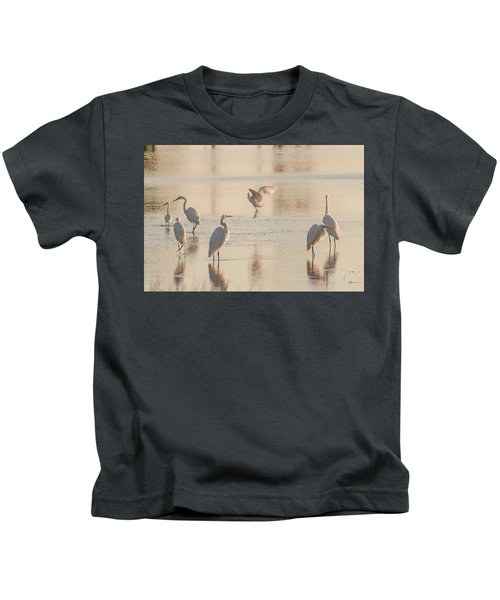 Ballet Of The Egrets Kids T-Shirt