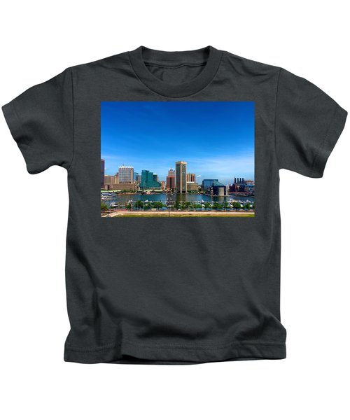 Kids T-Shirt featuring the photograph Baltimore Skyline by Chris Montcalmo