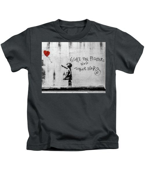 Kids T-Shirt featuring the photograph Banksy Balloon Girl Fight The Fighters by Gigi Ebert