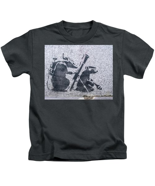 Kids T-Shirt featuring the photograph Banksy Bazooka Rats by Gigi Ebert