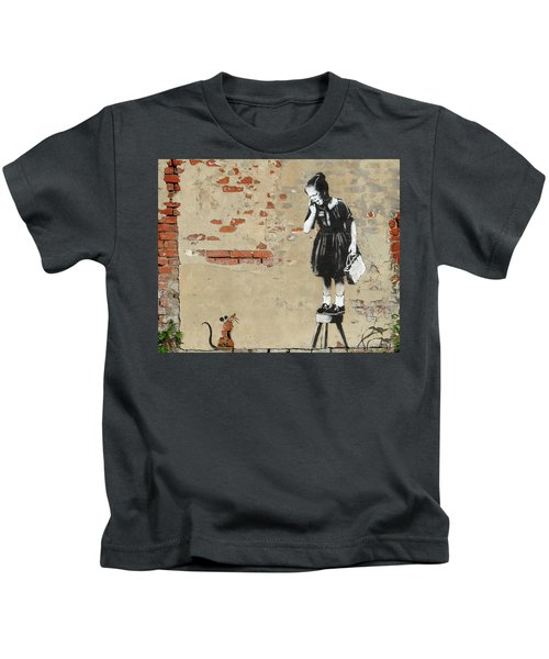 Kids T-Shirt featuring the photograph Banksy New Orleans Girl And Mouse by Gigi Ebert